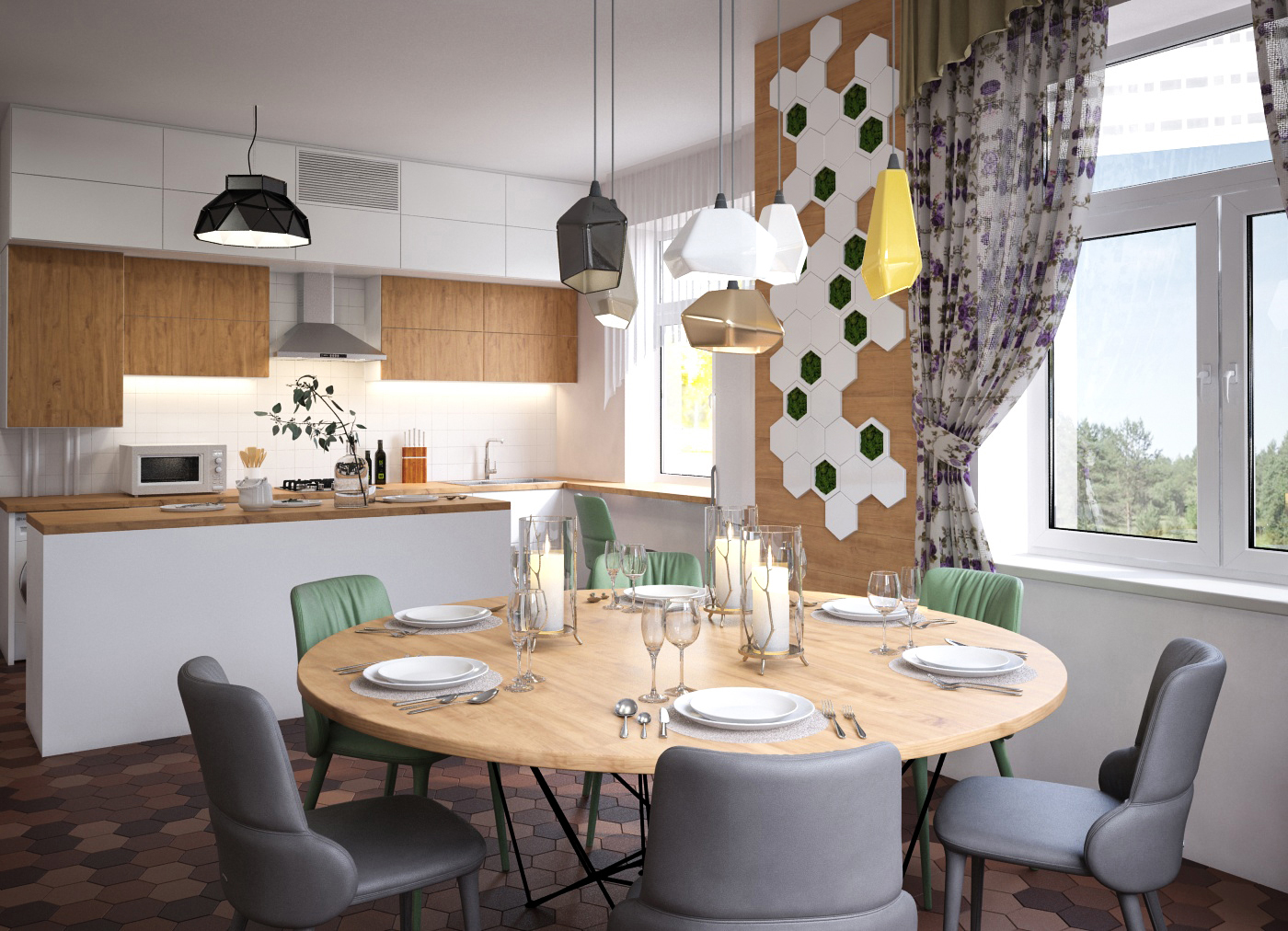 Дизайн интерьера Днепр. кухня-столовая